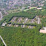In der Bildmitte die Wohnsiedlung an der Straße im Emscherbruch 2011 - Quelle Medienarchiv © Stadt Gelsenkirchen