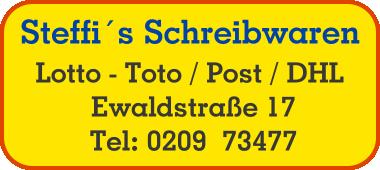 Steffi´s Schreibwaren Mo – Do: 8.30 – 12.30 Uhr Mo – Do: 14.30 – 18.00 Uhr Fr: 8.30 – 18.00 Uhr Sa: 8.30 – 13.00 Uhr